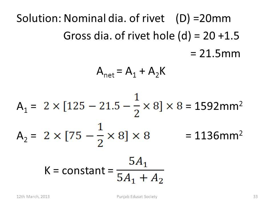 Solution: Nominal dia. of rivet (D) =20mm Gross dia