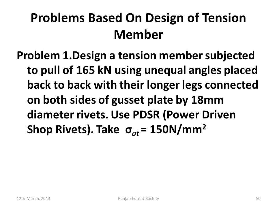 Problems Based On Design of Tension Member