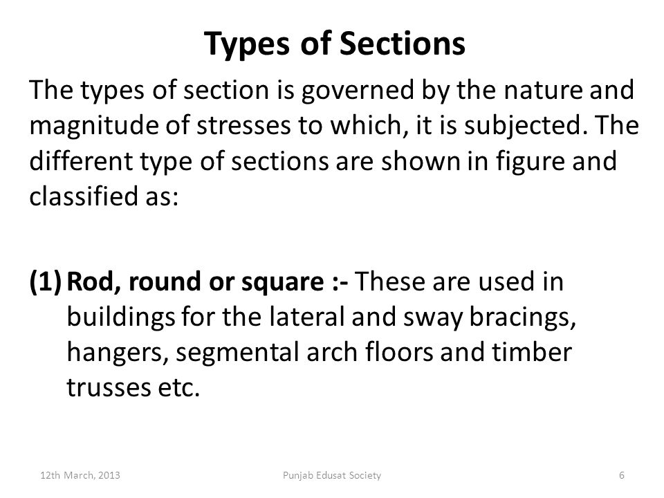 Types of Sections