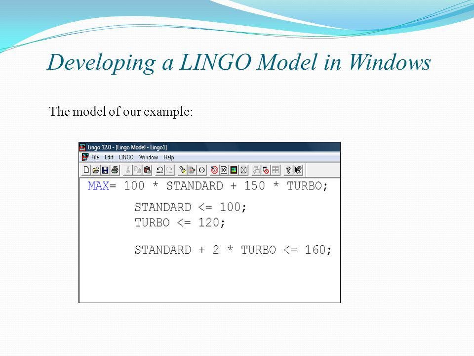 Developing a LINGO Model in Windows
