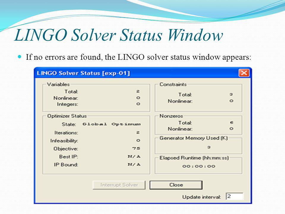 LINGO Solver Status Window
