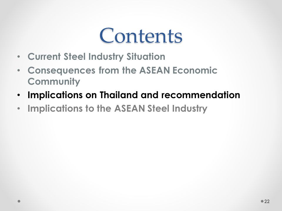 Implications on the selected downstream industries: Thailand