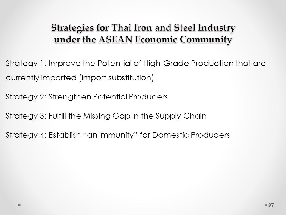 Strategy 1: Improve the Potential of High-Grade Production that are currently imported (import substitution)
