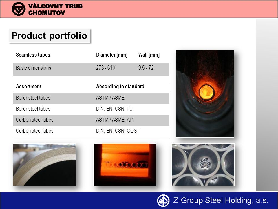 Product portfolio Seamless tubes Diameter [mm] Wall [mm]