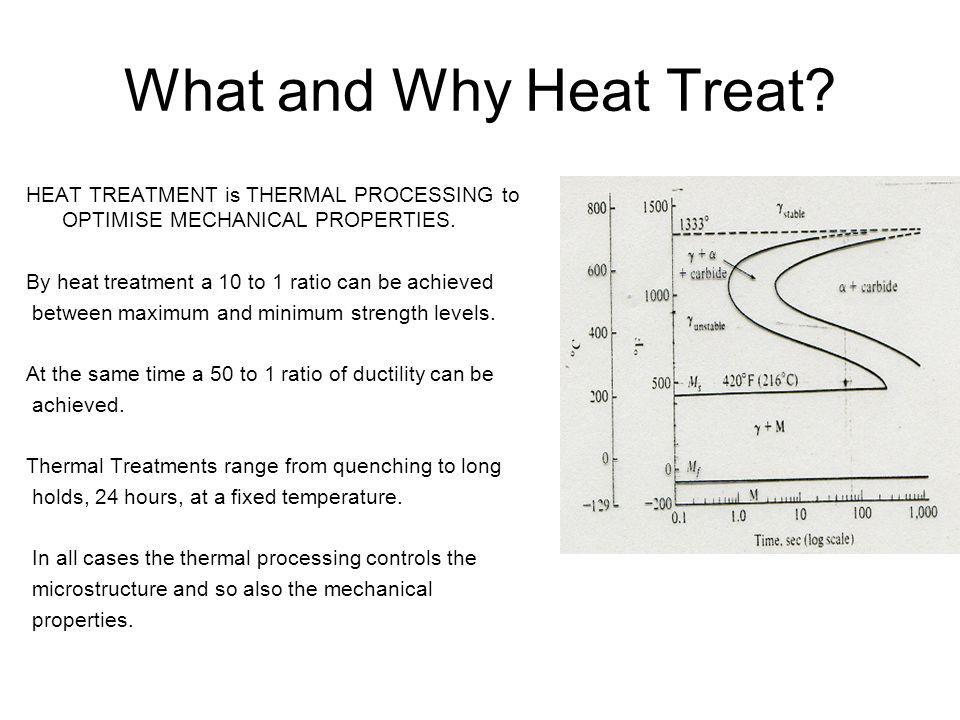 What and Why Heat Treat HEAT TREATMENT is THERMAL PROCESSING to OPTIMISE MECHANICAL PROPERTIES. By heat treatment a 10 to 1 ratio can be achieved.