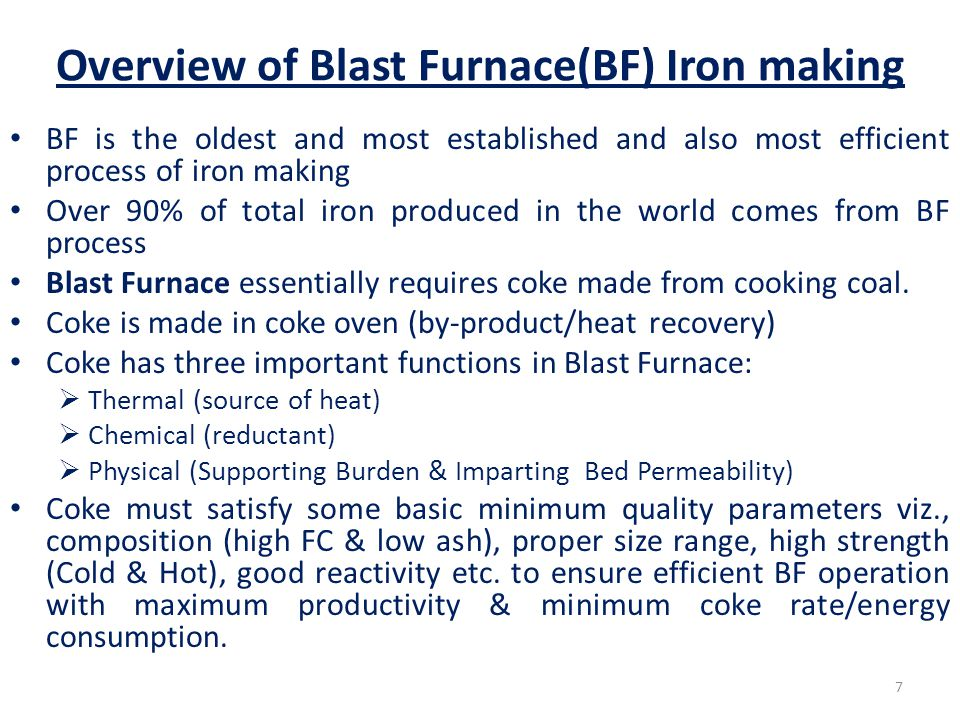 Overview of Blast Furnace(BF) Iron making