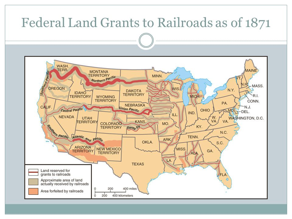 Federal Land Grants to Railroads as of 1871