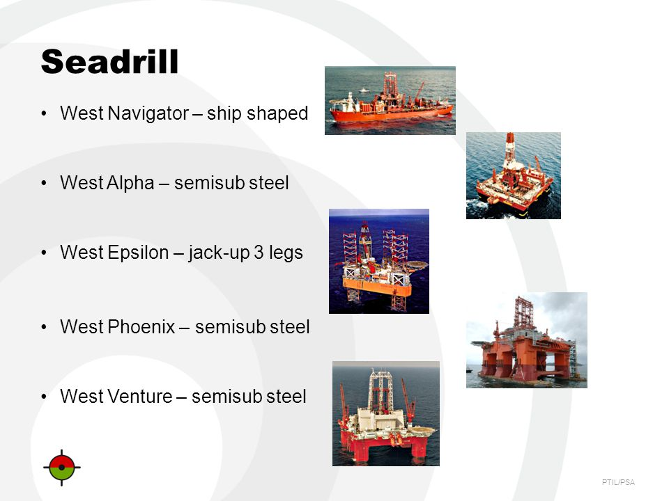 Seadrill West Navigator – ship shaped West Alpha – semisub steel