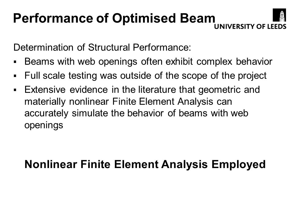 Performance of Optimised Beam