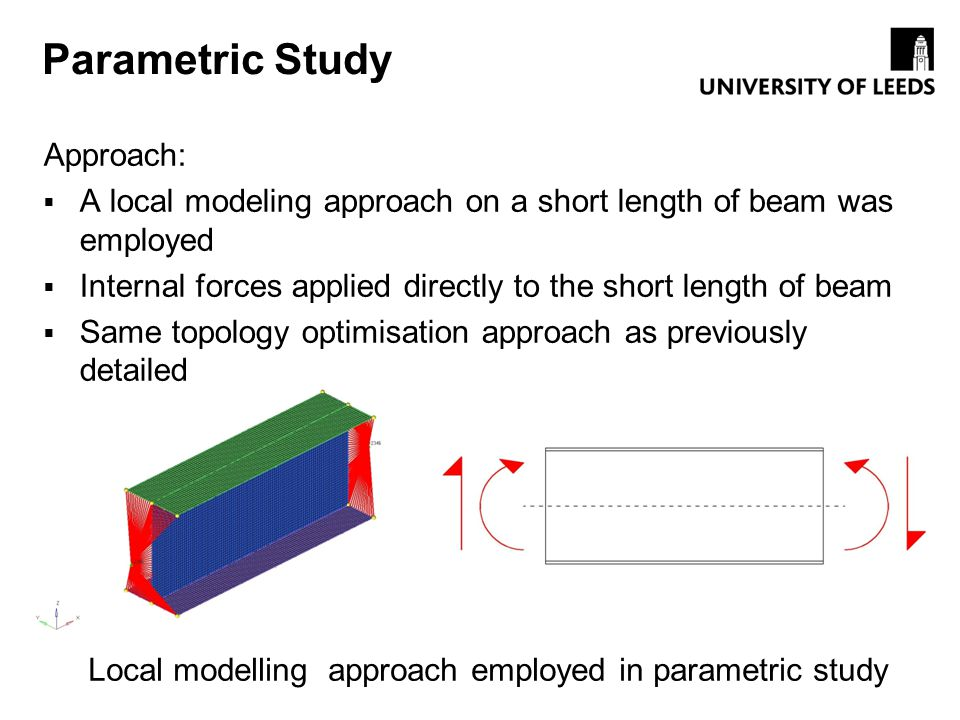 Local modelling approach employed in parametric study