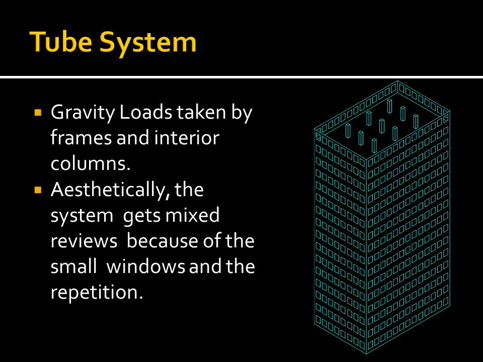 Tube System Gravity Loads taken by frames and interior columns.