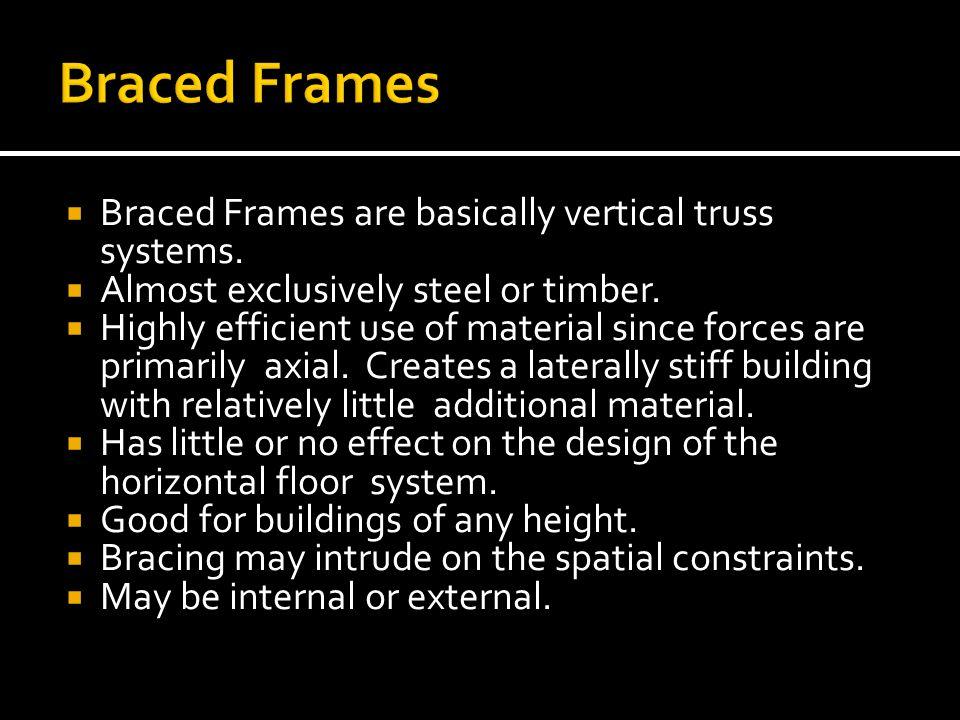 Braced Frames Braced Frames are basically vertical truss systems.