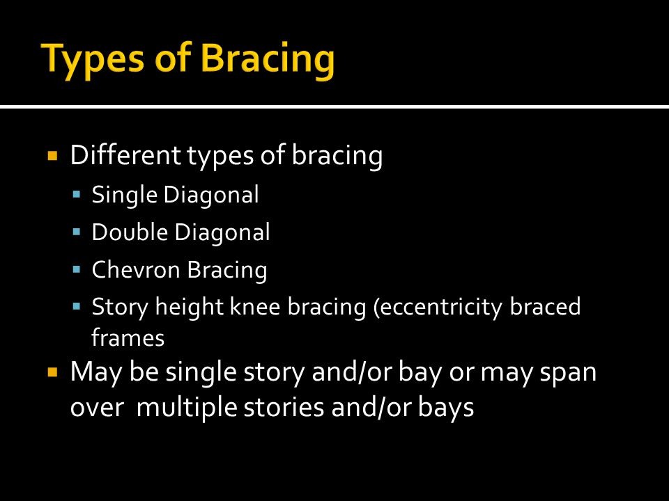 Types of Bracing Different types of bracing