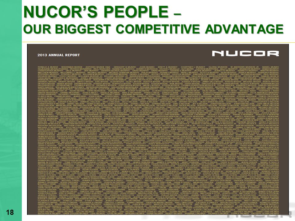NUCOR'S PEOPLE – OUR BIGGEST COMPETITIVE ADVANTAGE