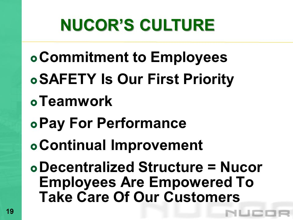 NUCOR'S CULTURE Commitment to Employees. SAFETY Is Our First Priority. Teamwork. Pay For Performance.