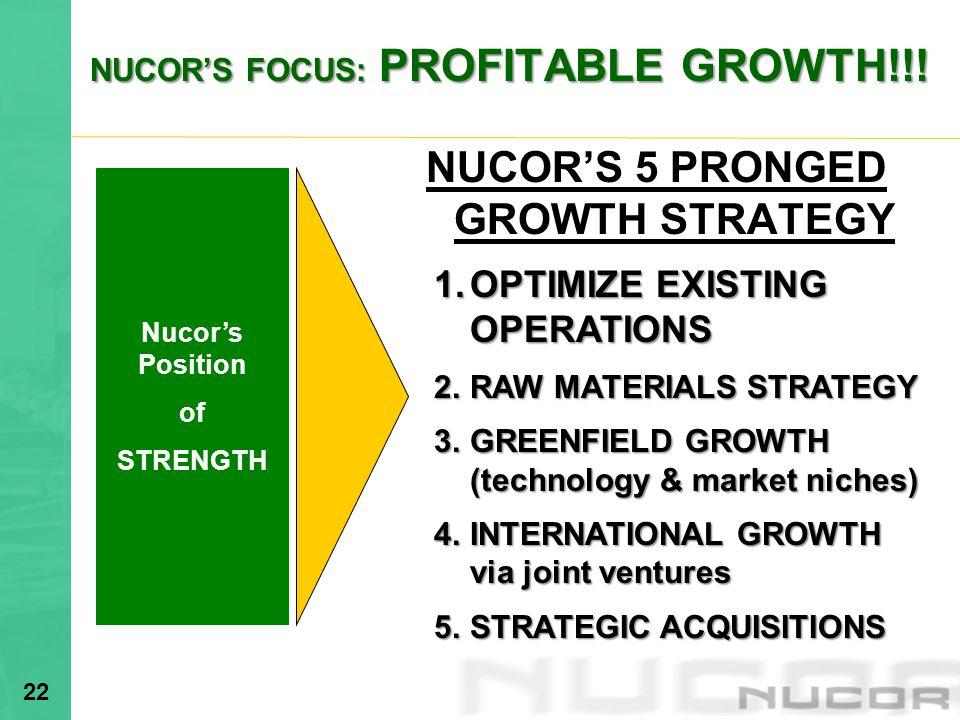 NUCOR'S FOCUS: PROFITABLE GROWTH!!!