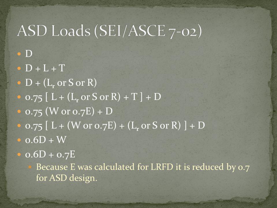 ASD Loads (SEI/ASCE 7-02) D D + L + T D + (Lr or S or R)