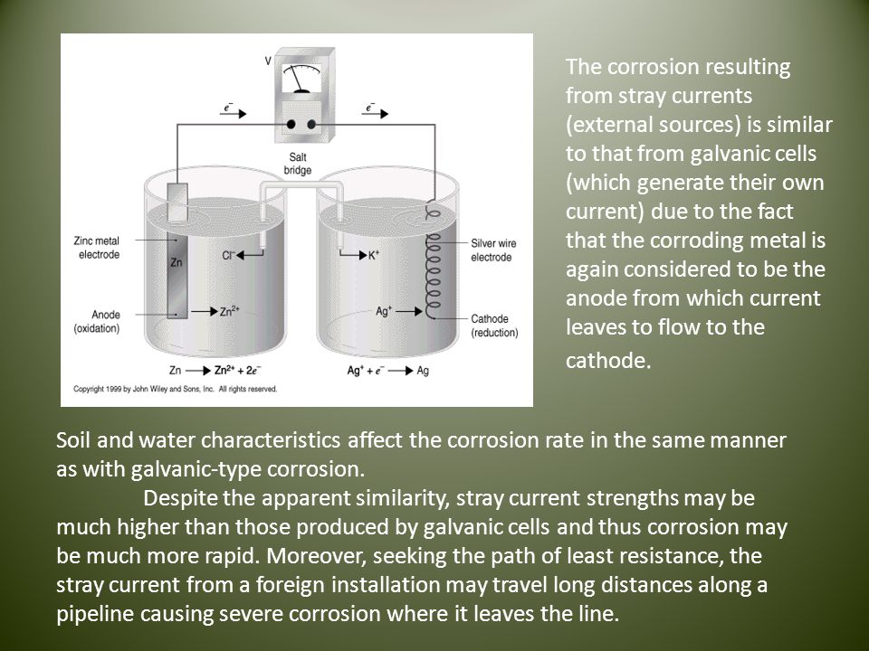 The corrosion resulting from stray currents (external sources) is similar to that from galvanic cells (which generate their own current) due to the fact that the corroding metal is again considered to be the anode from which current leaves to flow to the cathode.