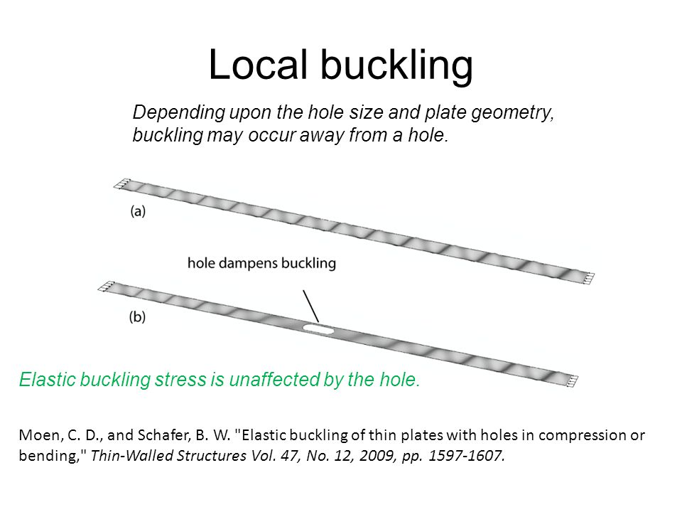 Local buckling For evenly spaced holes: