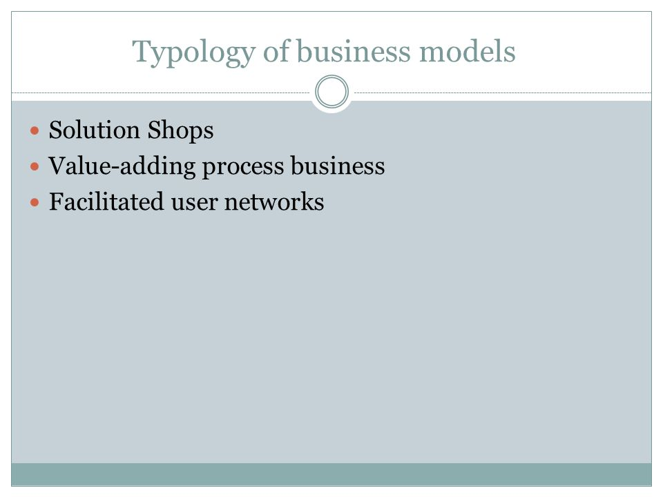 Typology of business models