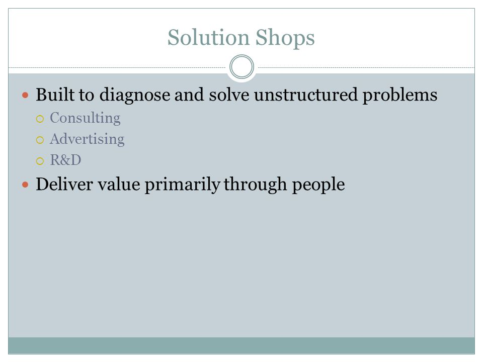 Solution Shops Built to diagnose and solve unstructured problems
