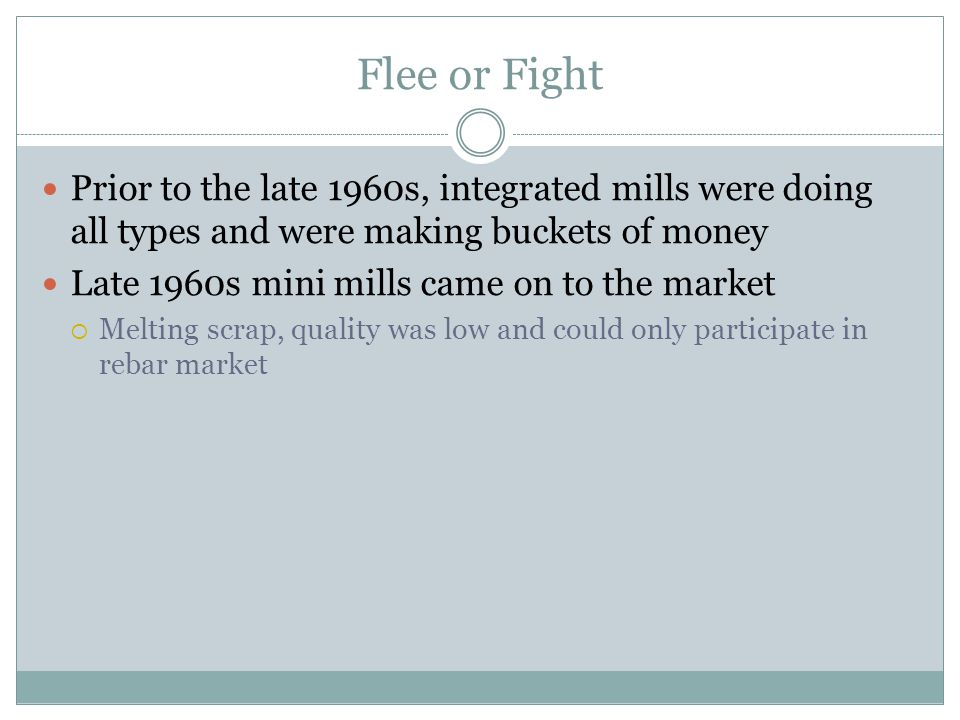 Flee or Fight Prior to the late 1960s, integrated mills were doing all types and were making buckets of money.