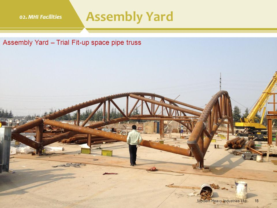 Assembly Yard Assembly Yard – Trial Fit-up space pipe truss