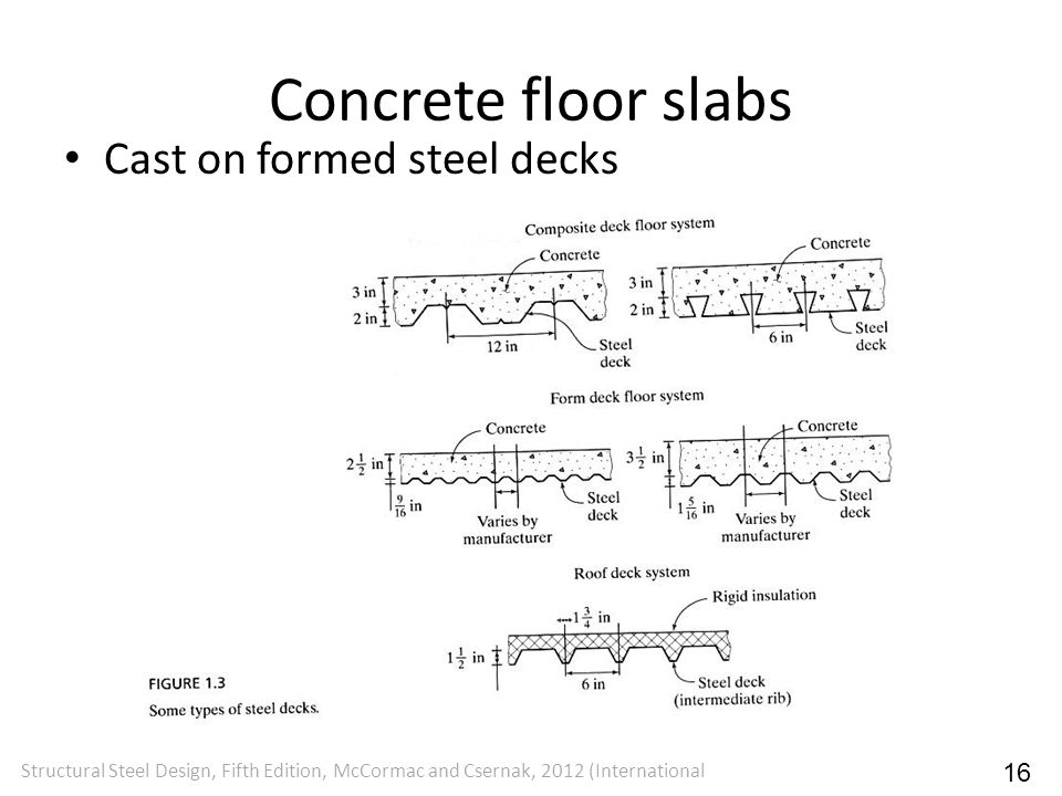 Concrete floor slabs Cast on formed steel decks 16