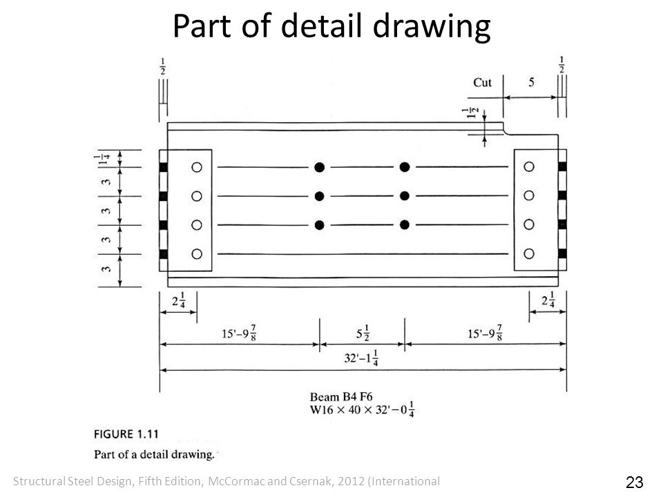 Part of detail drawing Structural Steel Design, Fifth Edition, McCormac and Csernak, 2012 (International.