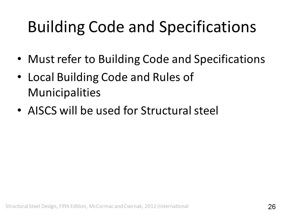Building Code and Specifications