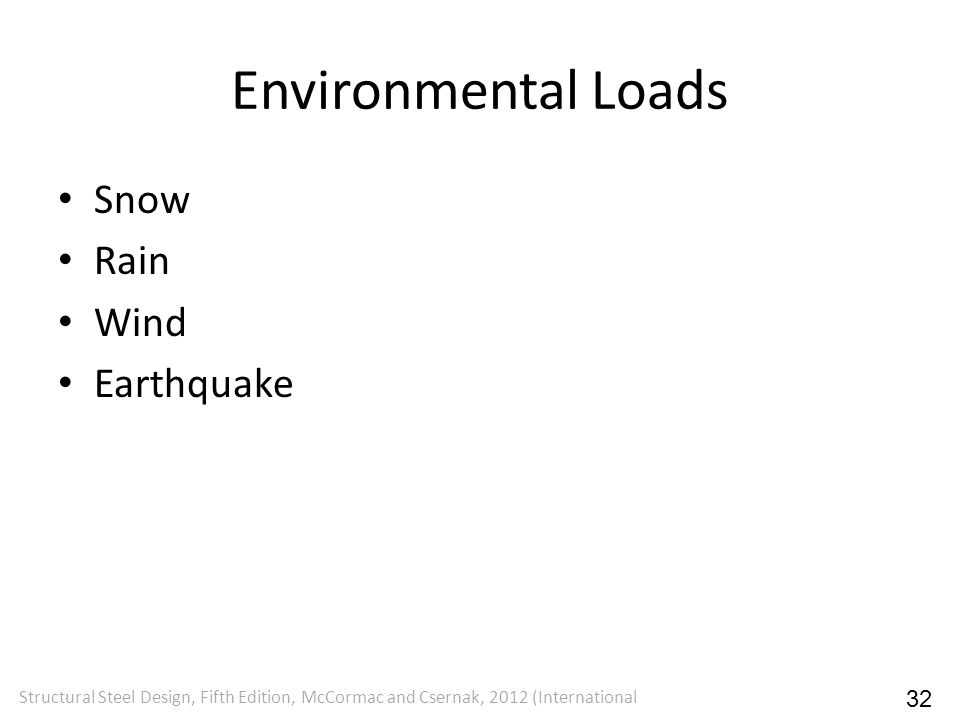 Environmental Loads Snow Rain Wind Earthquake 32