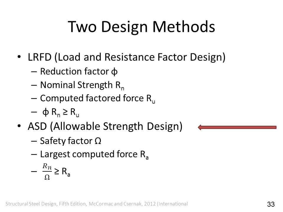 Two Design Methods LRFD (Load and Resistance Factor Design)