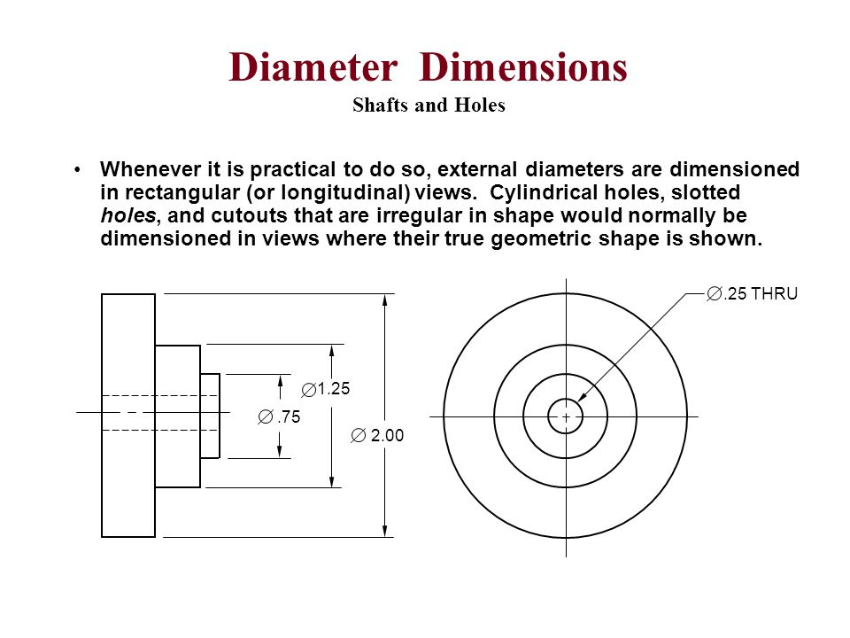 Diameter Dimensions Shafts and Holes