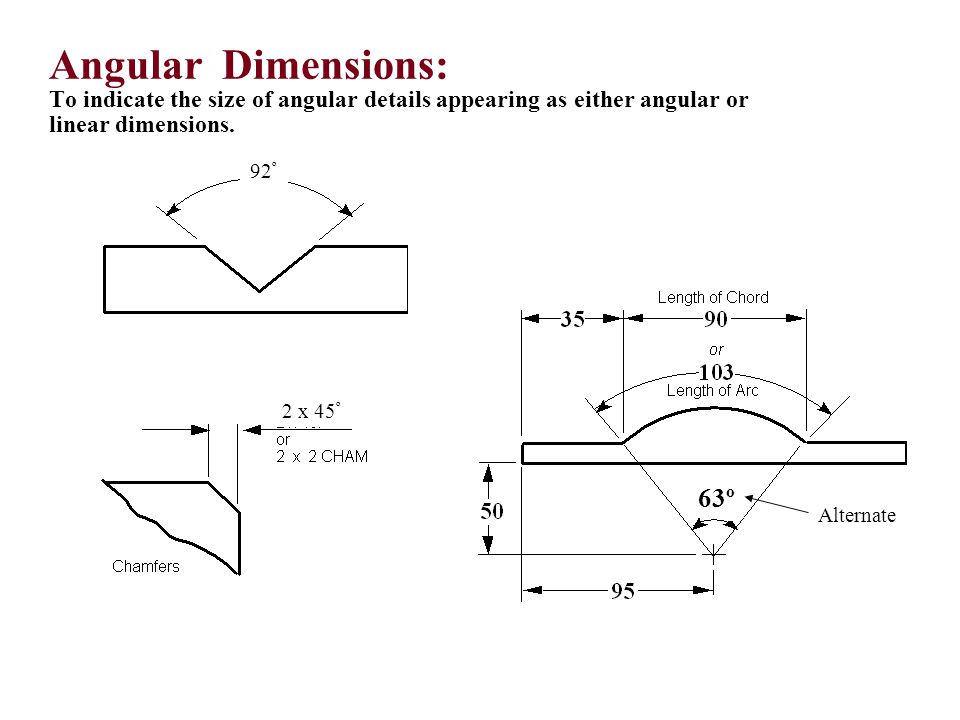 Angular Dimensions: To indicate the size of angular details appearing as either angular or linear dimensions.