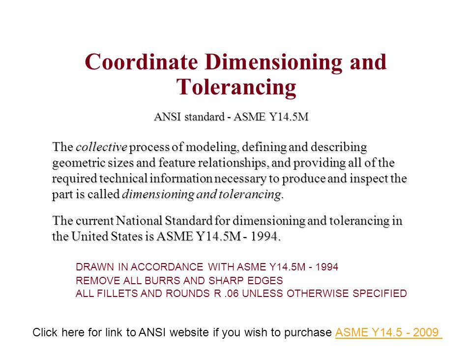 Coordinate Dimensioning and Tolerancing