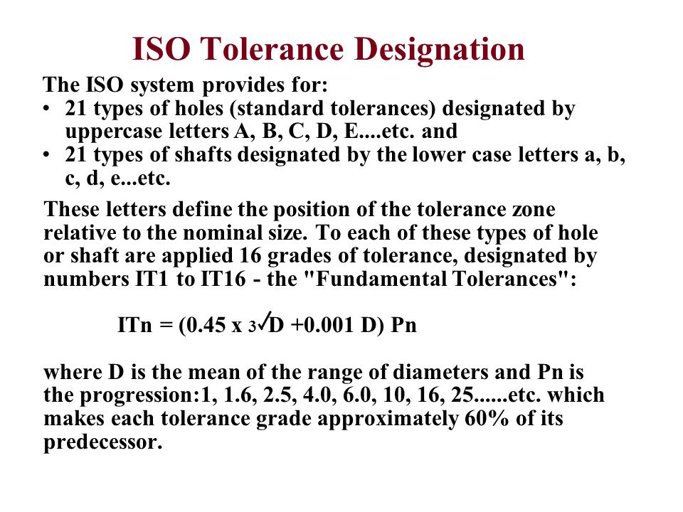 ISO Tolerance Designation