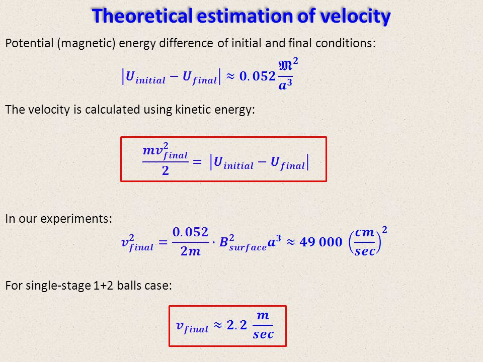 Theoretical estimation of velocity