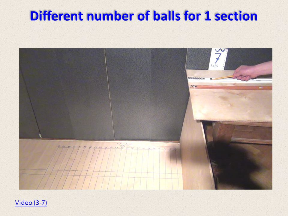 Different number of balls for 1 section