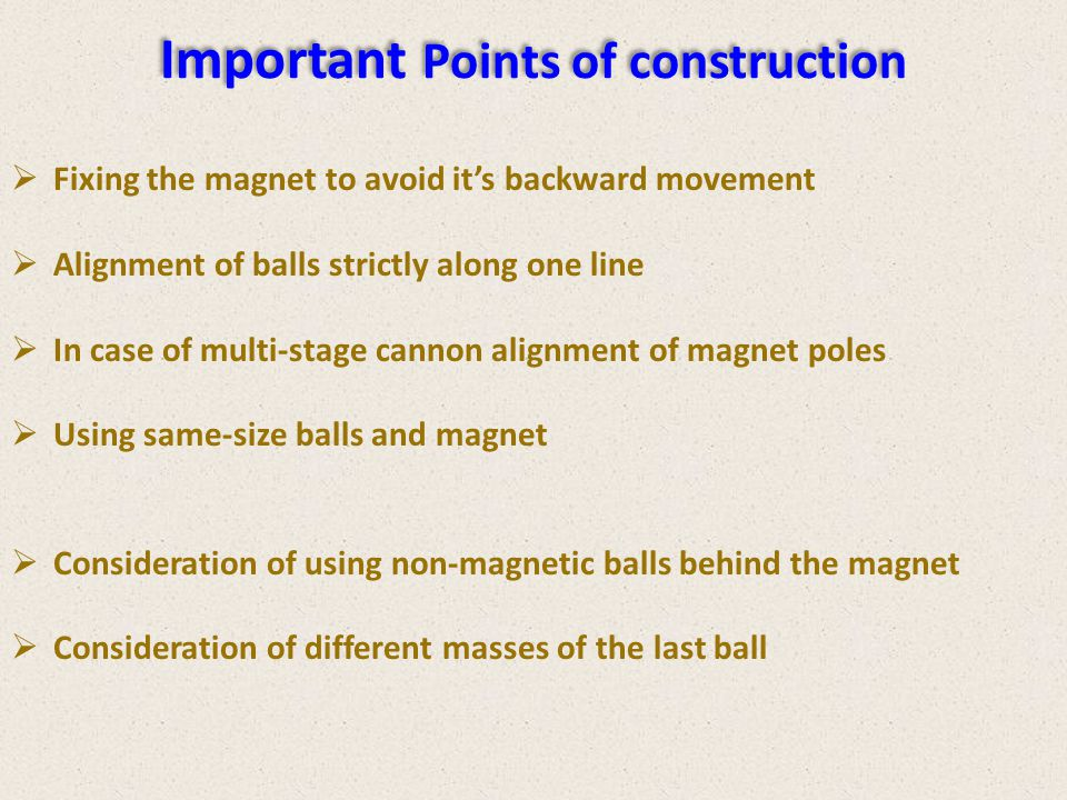 Important Points of construction