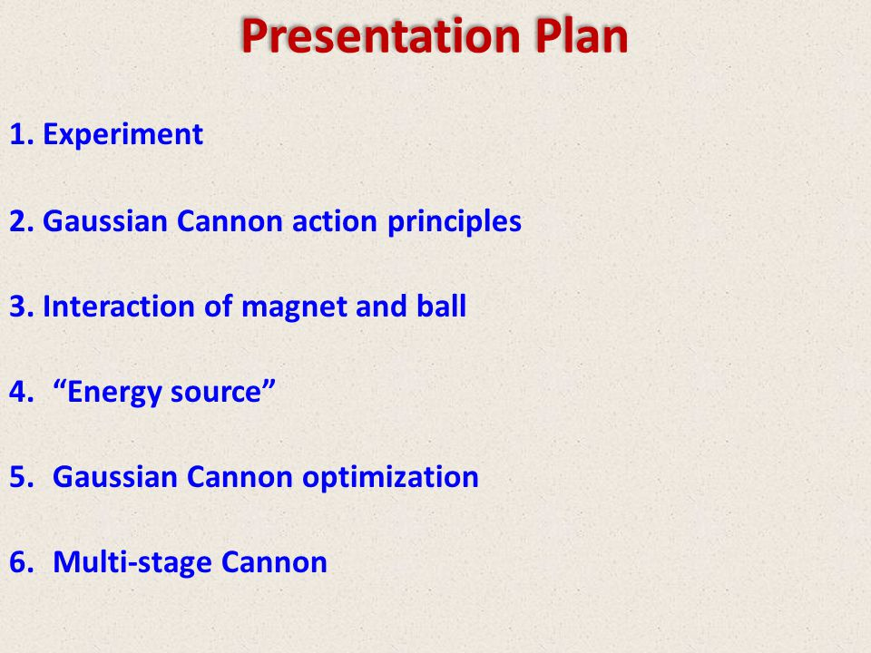 Presentation Plan Experiment Gaussian Cannon action principles
