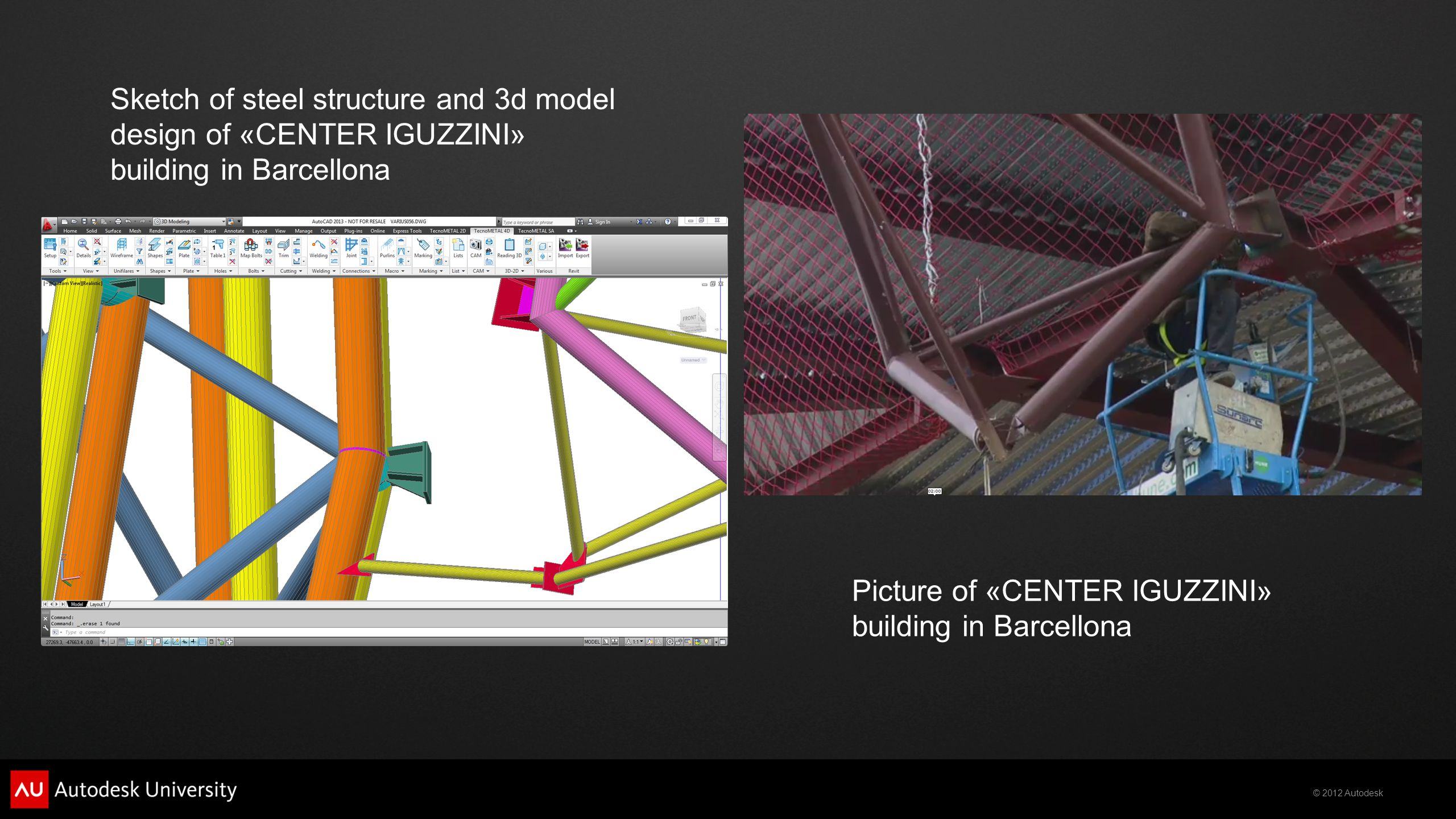 Sketch of steel structure and 3d model design of «CENTER IGUZZINI» building in Barcellona