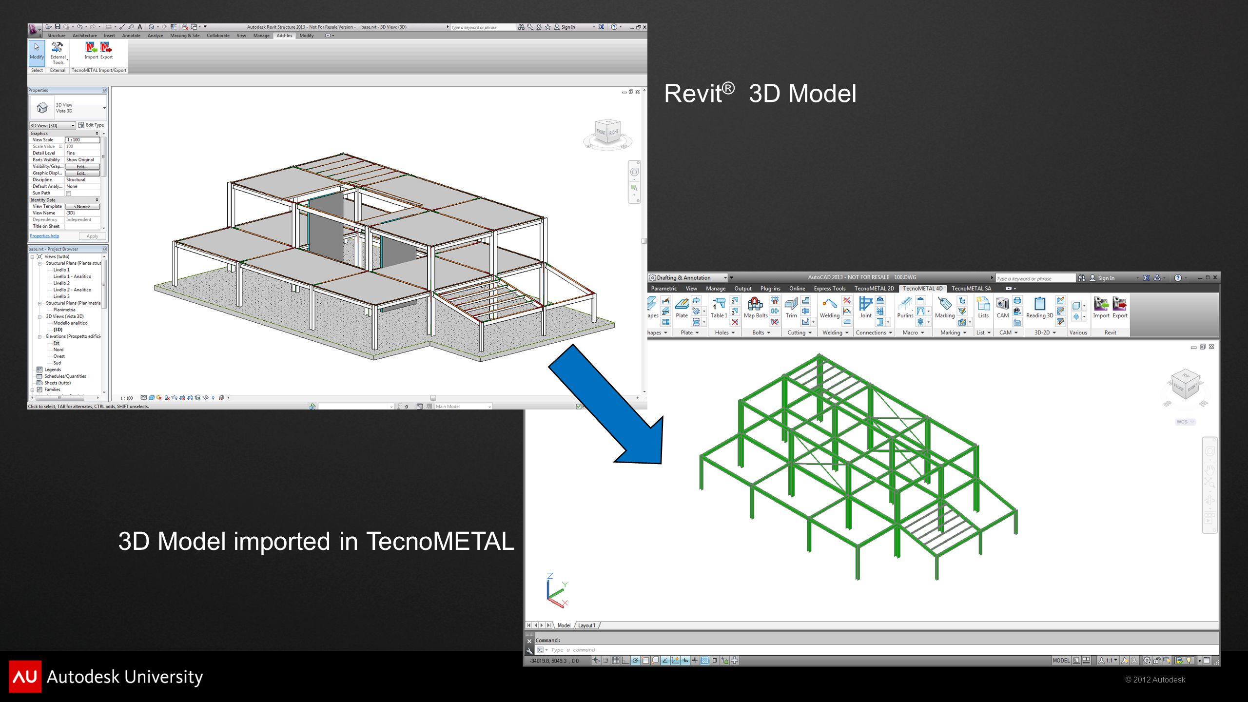 Revit® 3D Model 3D Model imported in TecnoMETAL