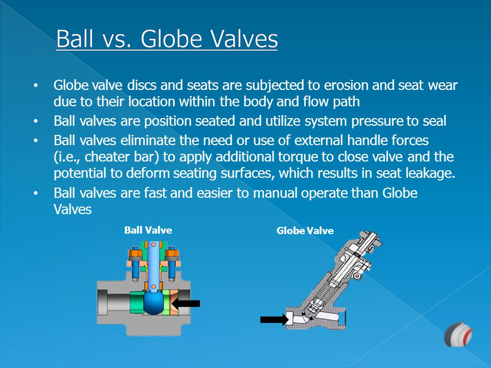 Ball vs. Globe Valves Globe valve discs and seats are subjected to erosion and seat wear due to their location within the body and flow path.