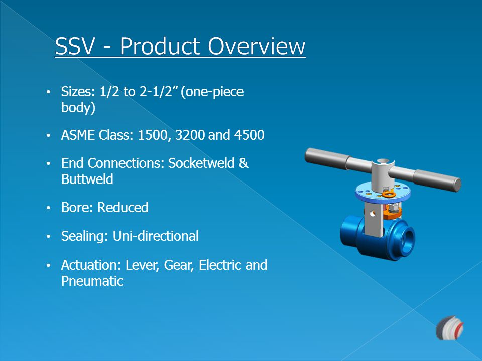 SSV - Product Overview Sizes: 1/2 to 2-1/2 (one-piece body)