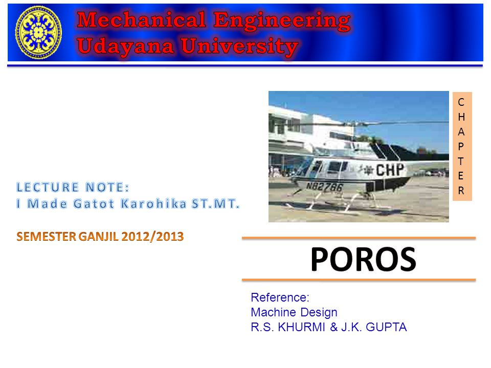 Poros Mechanical Engineering Udayana University Lecture Note Ppt Video Online Download