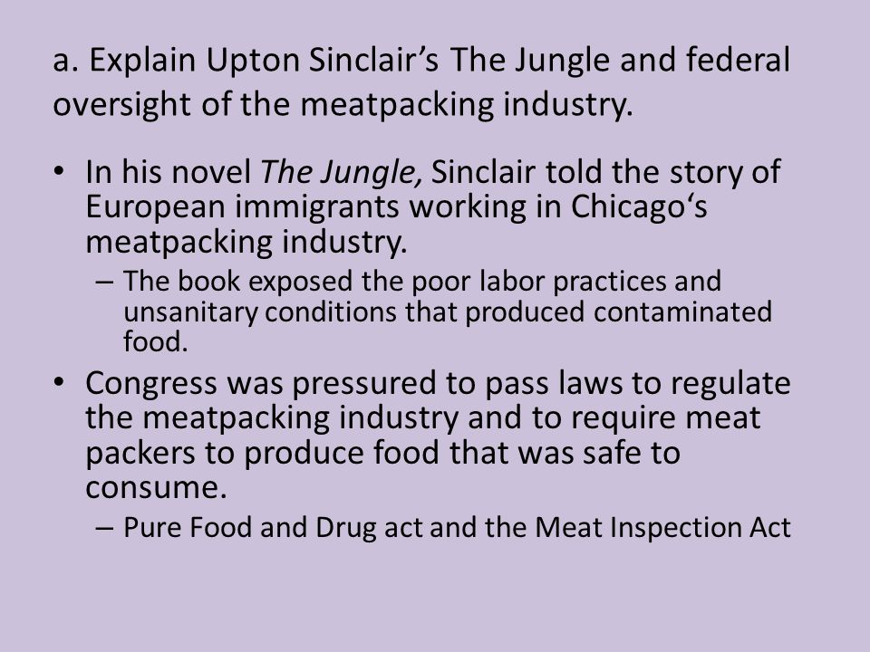 a. Explain Upton Sinclair's The Jungle and federal oversight of the meatpacking industry.