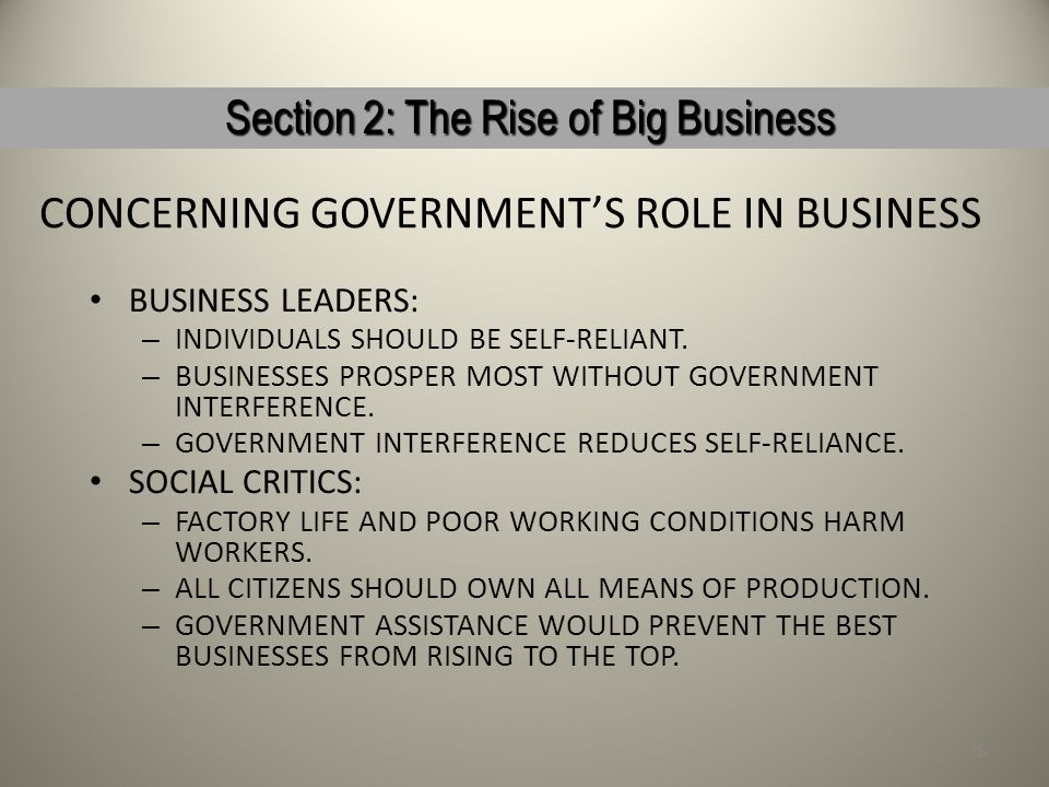 CONCERNING GOVERNMENT'S ROLE IN BUSINESS