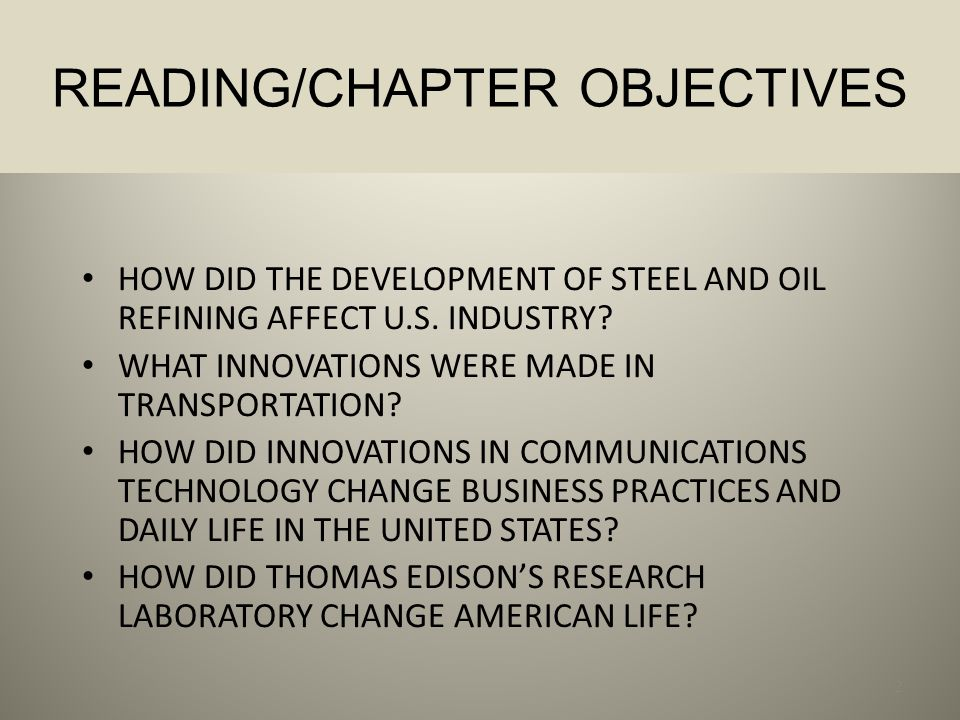 READING/CHAPTER OBJECTIVES