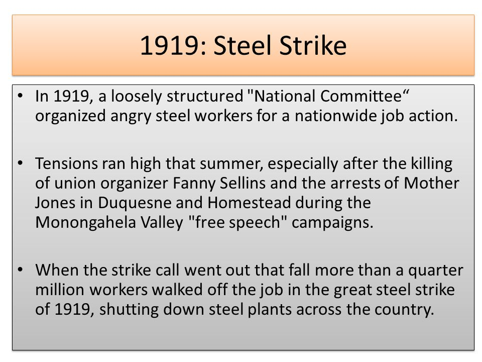 1919: Steel Strike In 1919, a loosely structured National Committee organized angry steel workers for a nationwide job action.