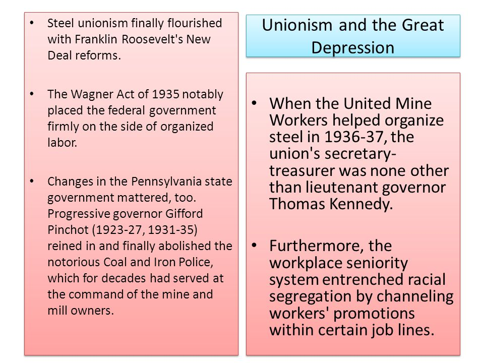 Unionism and the Great Depression